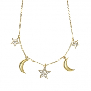 Necklace silver 925 yellow gold plated & with white zirconia - WANNA GLOW