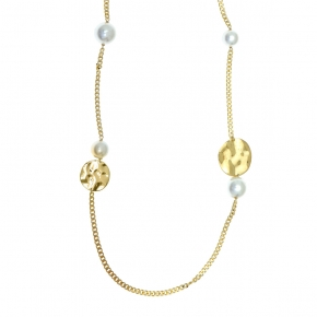 Necklace silver 925 yellow gold plated with pearls - Funky Metal