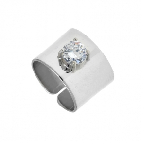 Ring silver 925 rhodium plated with crystals - Color Me