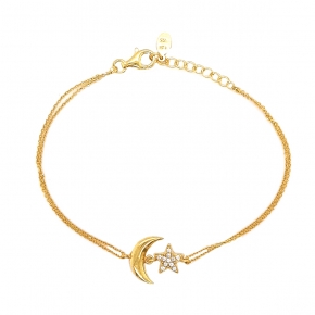 Bracelet silver 925 yellow gold plated & with white zirconia - WANNA GLOW