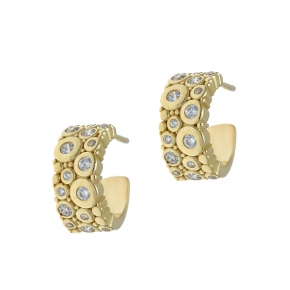 Earing silver 925 yellow gold plated with white zirconia - WANNA GLOW