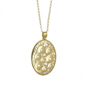 Necklase silver 925 yellow gold plated with white zirconia - WANNA GLOW