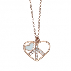 Necklace silver 925 pink gold plated with enamel and zirconia - Color Me