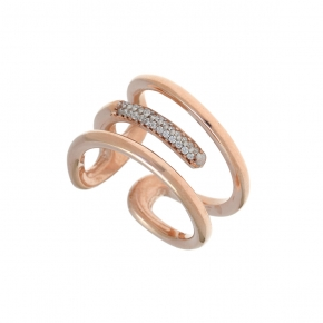 Ring silver 925 pink gold plated with white zirconia - WANNA GLOW