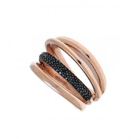 Ring silver 925 pink gold plated with black spinels - WANNA GLOW