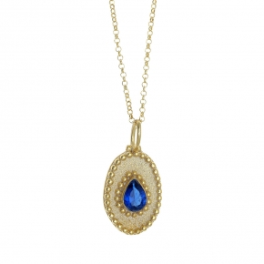 Necklace silver 925 yellow gold plated with zirconia - Color Me
