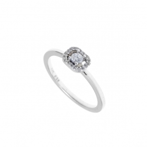 Ring white gold 14 carats with zirconia - My Gold
