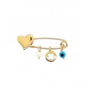 Pin gold k14 with synthetic stones - My Gold