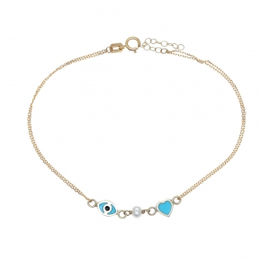 Bracelet Gold Κ14 with Synthetic Stones - My Gold