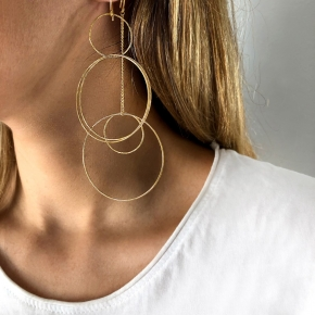 Earrings in silver 925 pink gold plated (10cm total lenght, circle size 4 cm) - Funky Metal