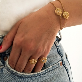 Bracelet silver 925 yellow gold plated with white zirconia - WANNA GLOW