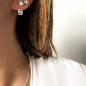 Earrings silver 925 rhodium plated with white zirconia - Simply Me