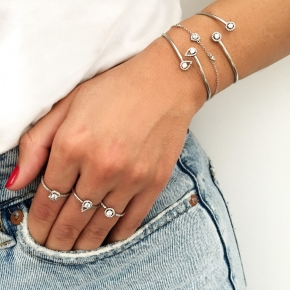 Bracelet silver 925 rhodium plated with white zirconia - Simply Me