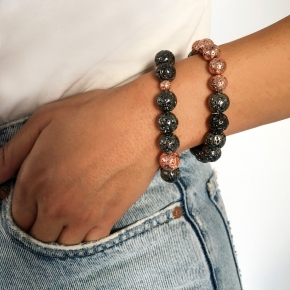 Bracelet silver 925 with black and rose lava beads - Color Me