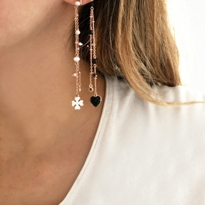Earings in silver 925 pink gold plated with enamel and zirconia - Color Me