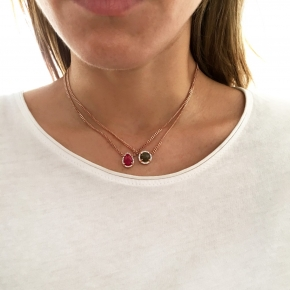 Necklace in silver 925 pink gold plated with labradorite and white zirconia - Color Me