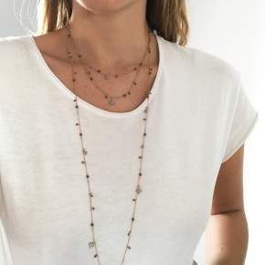 Necklace in silver 925 pink gold plated with enamel and zirconia - Color Me