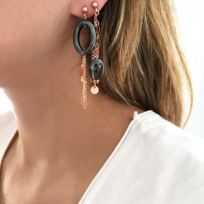 Earrings metal rose gold plated with synthetic stones - Funky Metal