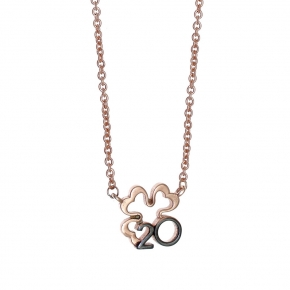 Necklase silver 925 rose gold plated with black rhodium plated - Wish Luck