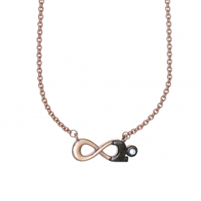 Necklase silver 925 rose gold plated with black rhodium plated and white zirconia - Wish Luck