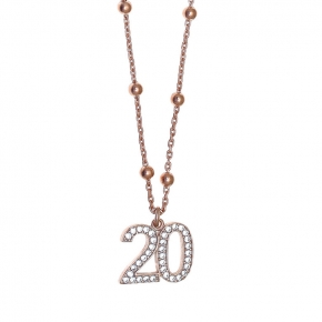Necklase silver 925 rose gold plated with white zirconia - Wish Luck