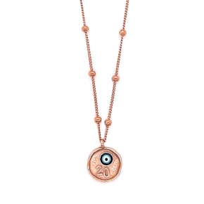 Necklase silver 925 rose gold plated with evil eye - Wish Luck