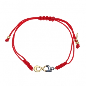 Bracelet silver 925 yellow gold plated with cord and white zirconia - Wish Luck