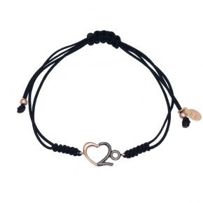 Bracelet silver 925 rose gold plated with black rhodium plated - Wish Luck