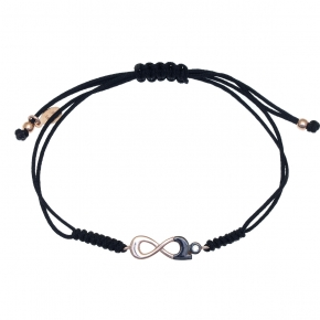 Bracelet silver 925 rose gold plated with black rhodium plated and zirconia - Wish Luck