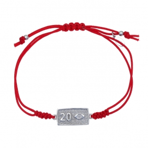 Bracelet silver 925 rhodium plated with cord - Wish Luck
