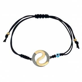 Bracelet silver 925 yellow gold plated with black rhodium plated - Wish Luck