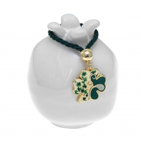 Lucky charm ceramic pomegranate with fourleaf made of metal (pendant size 2.5 cm) - Wish Luck