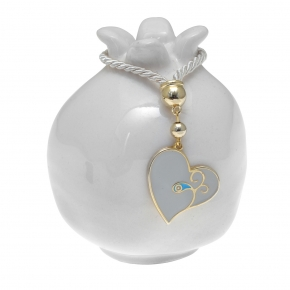 Lucky charm ceramic pomegranate with heart made of metal (pendant size 2.5 cm) - Wish Luck