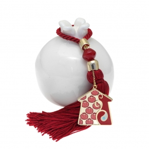 Lucky charm ceramic pomegranate with motif made of metal (pendant size 4 cm) - Wish Luck