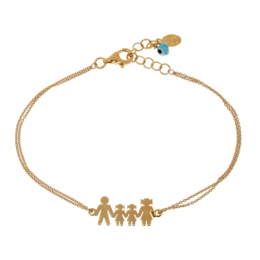 Bracelet silver 925 gold plated & with evil eye - Wish Luck