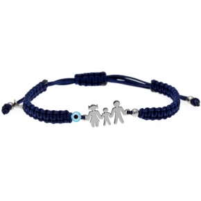 Bracelet silver 925 rhodium plated with evil eye and with cord - Wish Luck