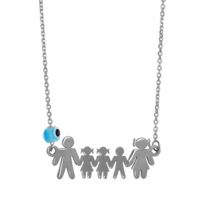 Necklace silver 925 rhodium plated with evil eye - Wish Luck