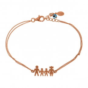 Bracelet silver 925 pink gold plated & with evil eye - Wish Luck