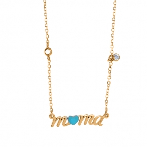 Necklace silver 925 yellow gold plated with white zirconia and enamel - Wish Luck