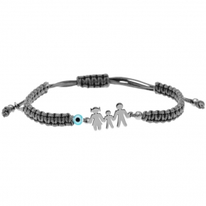 Bracelet silver 925 rhodium plated & with evil eye with cord - Wish Luck
