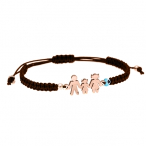 Bracelet silver 925 pink gold plated, with evil eye and cord - Wish Luck