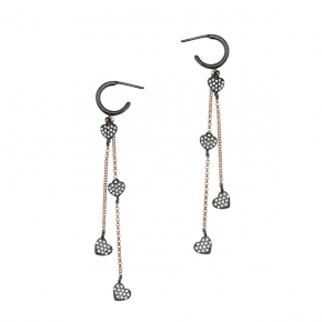 Earrings silver 925 Pink gold plated with black rhodium & zirconia - WANNA GLOW