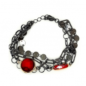 Bracelet metal black rhodium plated with synthetic stones - Funky Metal