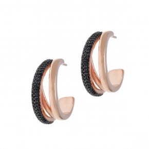 Earing silver 925 pink gold plated with white zirconia - WANNA GLOW