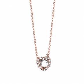 Necklace pink gold 14 carats with zirconia - My Gold