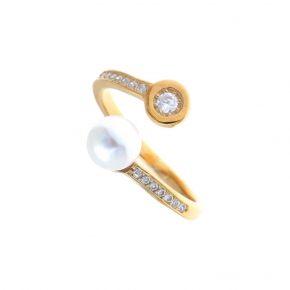 Ring gold K14 with zirconia and pearl - My Gold