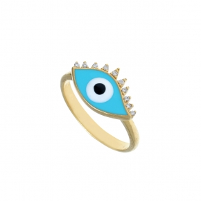 Ring silver 925 yellow gold plated & with enamel evil eye  (2,8 cm x 1,7 cm) - Wish Luck