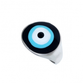 Ring silver 925 rhodium gold plated & with enamel evil eye  (2,8 cm x 1,7 cm) - Wish Luck