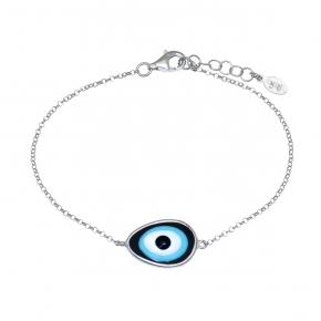 Bracelet silver 925 rhodium plated & with enamel evil eye - Wish Luck
