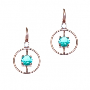 Earrings in silver 925 rose gold plated with crystals - Color Me
